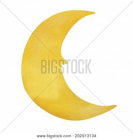 Moon painted with decorative brilliant golden paint. Christmas symbol on isolated white background. Golden brush stroke. Christmas gold glitter elements.