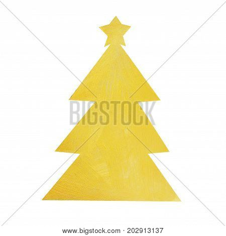 Christmas tree painted with decorative brilliant golden paint. Christmas symbol on isolated white background. Golden brush stroke. Christmas gold glitter elements.