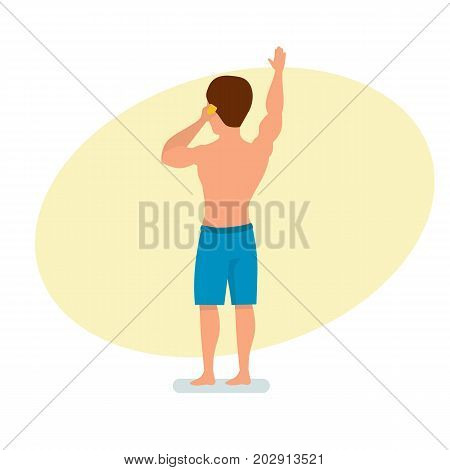 Summer vacation on sea and beach. Surfer man speaks on the phone, conducts a dialogue, and a greeting with a raised hand. Surf travel. Character person. Vector illustration in cartoon style.