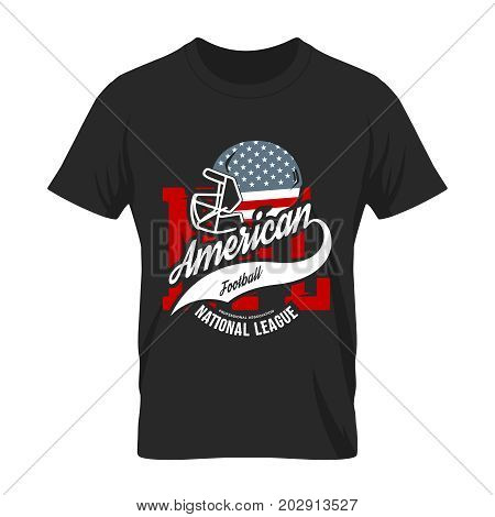 American football helmet tee print vector design isolated on white background.  Superior United States of America flag emblem. Premium quality rugby t-shirt retro sport logo concept illustration.