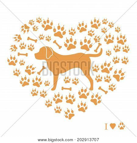 Nice Picture Of Rottweiler Silhouette On A Background Of Dog Tracks And Bones In The Form Of Heart.
