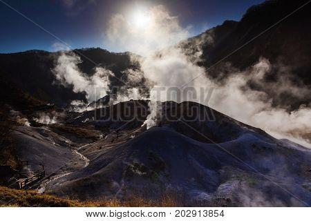 Jigokudani Hell Valley Against Sunrise