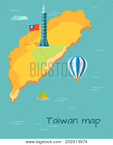 Taiwan map with high skyscraper Taipei, flag of island in Pacific Ocean. Striped blue and white ballon flying over blue water. Vector illustration of Formosa location and sights cartoon style.