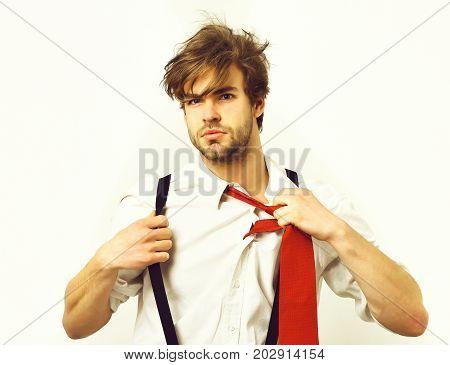 Caucasian Stylish Bearded Manager