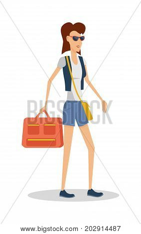 Summer vacation concept. Red head girl travels with luggage. Traveling with handbag baggage illustration. Flat style design. Woman in sunglasses with ladies bag and luggage. Isolated on white