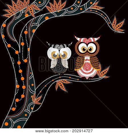 Aboriginal Painting With Owl Vector. Illustration based on aboriginal style of dot art.