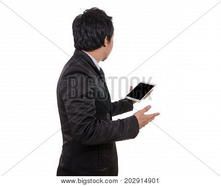 Rear view of Business People Conference Speaker on white background business meeting and seminar concept