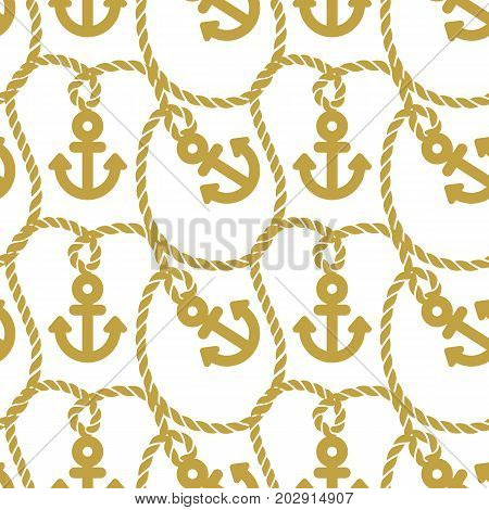 Seamless pattern anchors with chains. Ongoing background of marine theme. Vector illustration