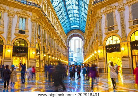 Milan, Italy - May 03, 2017: The people at Galleria Vittorio Emanuele in Milan at Italy on May 03, 2017