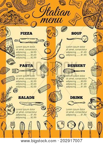 Italian food menu of different pasta and pizza. Design template for gourmet retaurant. Italian menu restaurant pasta and pizza. Vector illustration