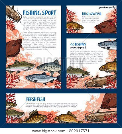 Fishing sport posters and banners templates of sea fishes. Vector set of ocean marlin, salmon or trout and mackerel, bream or navaga and flounder or tuna for fisherman trip or fisher big catch