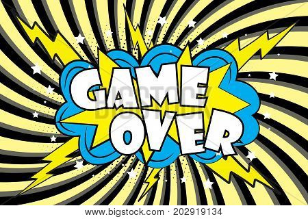 Game Over Comic Sound Effects In Pop Art Style
