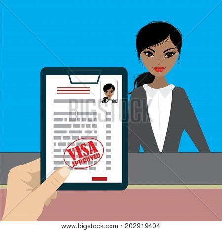 Paper blank - visa approved in hand and beauty woman. Vector illustration flat design