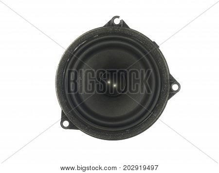 High-End low mid-range driver loudspeaker with coated paper cone isolated on white background.