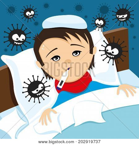 A sick child with a thermometer lies in bed and viruses around.