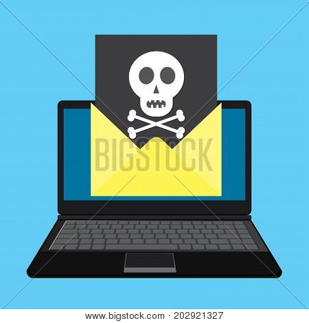 Laptop and envelope with black document and skull icon. Virus malware email fraud e-mail spam phishing scam or hacker attack concept.Cartoon vector illustration