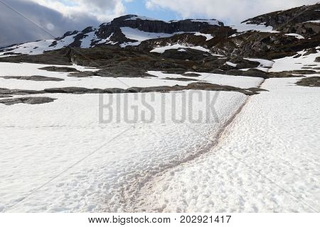Snow Trail In Norway