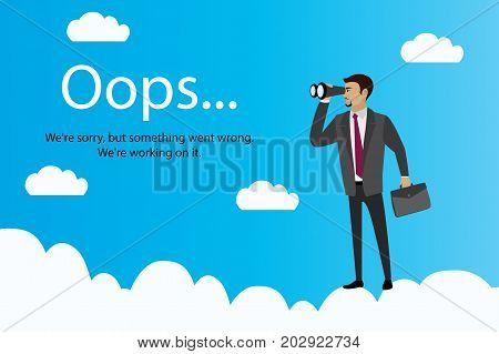 Oops Error Page And Businessman With Binoculars On Clouds