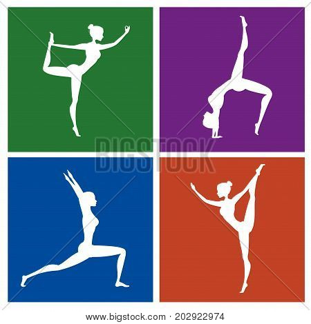 Fitness or yoga pose silhouette set on different color backgrounds stock vector illustration