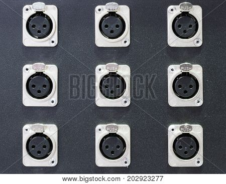Series of connection xlr conector. Rear of control panel active studio monitor.