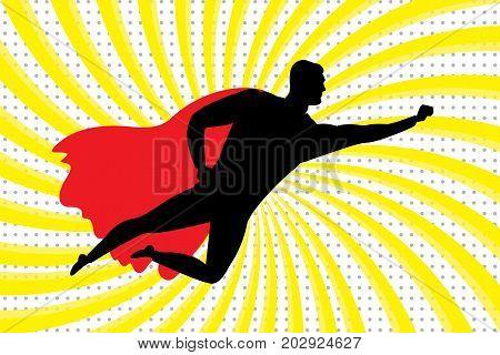 Flying Super Hero Silhouette