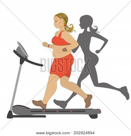 Fat girl running on a treadmill with her thin shadow. isolated on white background.stock vector illustration