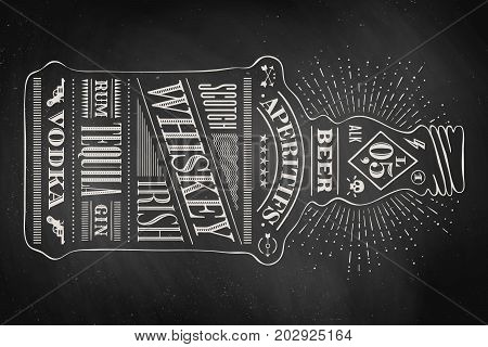 Poster bottle of alcohol with hand drawn lettering. Drawing for pub, bar menu, alcohol card, t-shirt print. Isolated bottle of alcohol wih lettering on chalkboard. Vector Illustration
