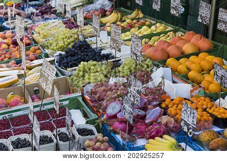 23 AUGUST 2017, VIENNA, AUSTRIA:The oldest in Vienna is the Naschmarkt Market with products of alcoholic fruits and vegetables.