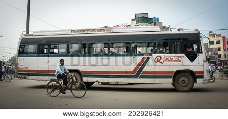 Local Bus On Street In Amritsar, India