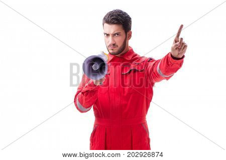 Young repairman with a megaphone bullhorn isolated on white back