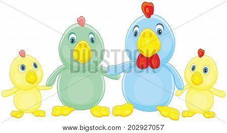 Chicken Family. Vector illustration of a funny rooster, a hen and their little chicks