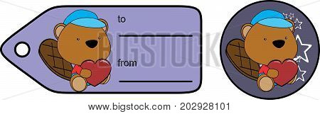 cute baby plush beaver cartoon love giftcard sticker in vector format very easy to edit