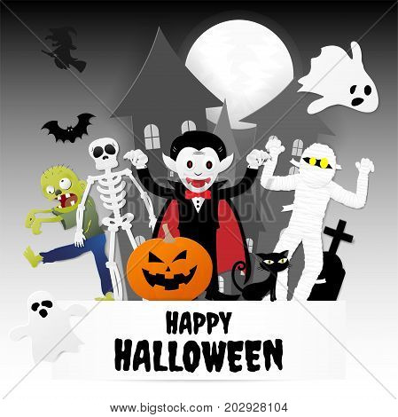 Happy halloween night party. Set of characters in cartoon paper style with pumpkin ghost dracula skeleton witch mummy zombie black cat bat and castle Vector illustration.