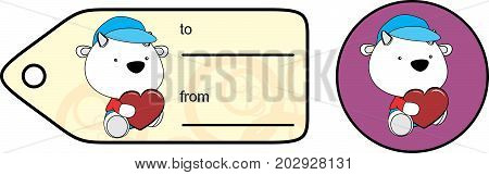 cute baby plush goat cartoon love giftcard sticker in vector format very easy to edit
