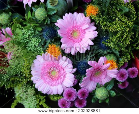 Bunch Of Flowers With Gerberas For Sale In The Flower Market