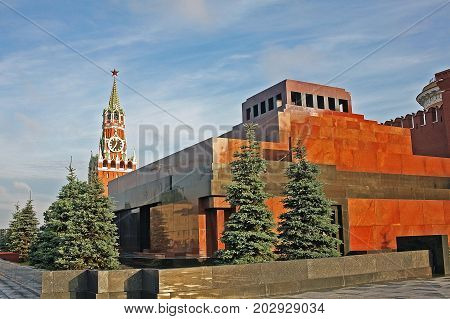 Moscow Russia - 14 July 2017: Lenin's Mausoleum is monument-tomb on Red square near the Kremlin wall where since 1924 lies the body of Vladimir Ilyich Lenin who was Soviet leader