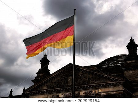 Reichstag Building Is Parliament Of Germany In Berlin With Huge
