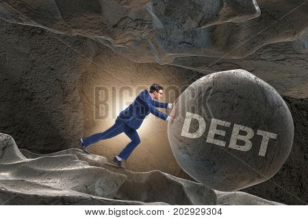 Businessman in high interest debt business concept