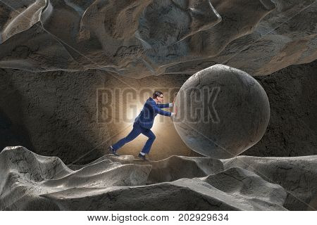 Businessman in difficult challenge concept