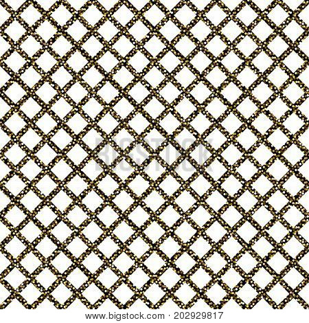 Chain-link fencing gold glitter seamless pattern. Abstract geometric repeating background.