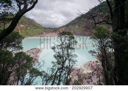 Kawah Putih - Ancient Volcanic Crater And Popular Touristic Destination, Ciwidey, Java Island, Indon