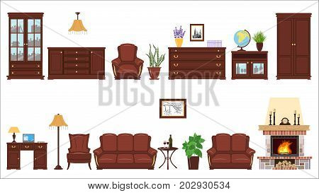 Big Set of home furniture elements for cabinet, library, parlour. Bookcase, armchair, sofa, picture, desk, leather, reading lamp, cache pot, globe, laptop, chest, locker, clock. For design decoration