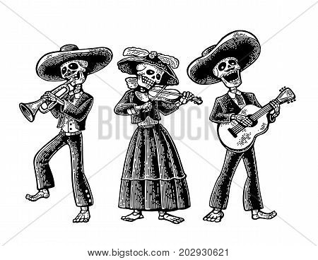 Day of the Dead Dia de los Muertos. The skeleton in the Mexican national costumes dance sing and play the guitar violin trumpet. Vector hand drawn vintage engraving isolated on white background poster