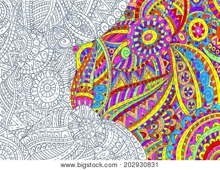 Illustration with abstract half-painted outline pattern hand drawn