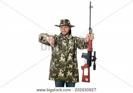 Soldier with weapons isolated on white