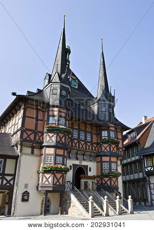 Historical city hall in Wernigerode, Saxony-Anhalt, Germany