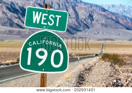 Sign for California State Route 190 in Death Valley National Park