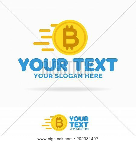 Bit coin logo set consisting of flying money flat style isolated on white background for money exchange, payment, bank, cryptocurrency etc. Vector Illustration