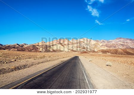 Road to scenic Artists Drive in Death Valley National Park in California
