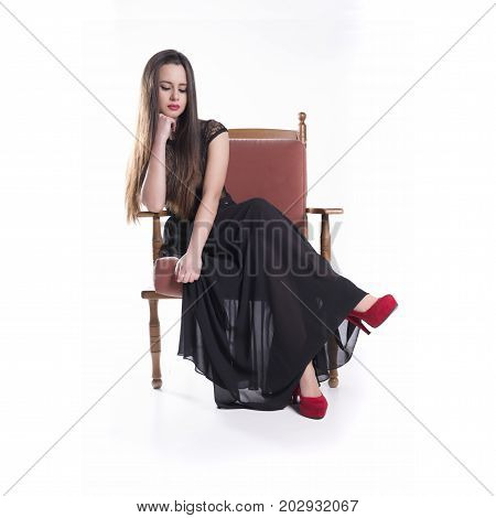 Young Model With Black Dress Sit